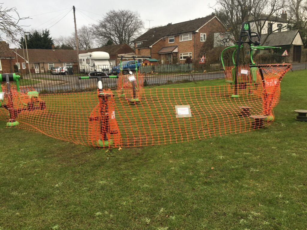 Photo of fenced off Outdoor Gym.